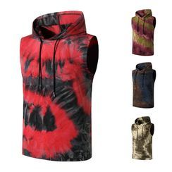 Fireon - Hooded Tie-Dyed Tank Top