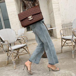 NANING9 - Cut-Hem Semi Wide Jeans