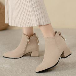 Megan - Block-Heel Pointy Ankle Boots