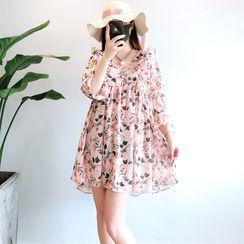 Didiscus - Flower Print 3/4-Sleeve Mini Shift Dress