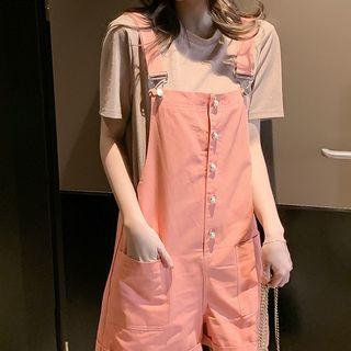 Bornite - Glitter Short-Sleeve T-Shirt / Jumper Shorts / Mock Two-Piece Short-Sleeve Dress / Set