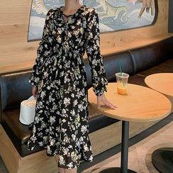 Bornite - Flower Print Long-Sleeve Midi A-Line Dress