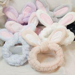 Reiro - Chenille Rabbit Ear Face Wash Headband