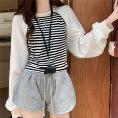 Magimomo - Mock Two-Piece Striped Sweater