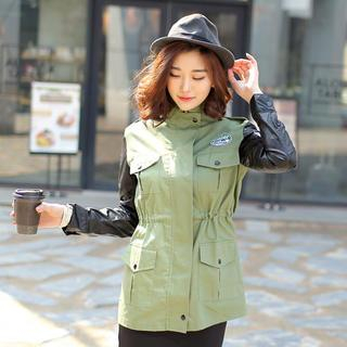 Envy Look - Faux-Leather Trim Appliqué Safari Jacket