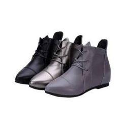 Carnival Beast - 內增高拼接側拉鏈踝靴