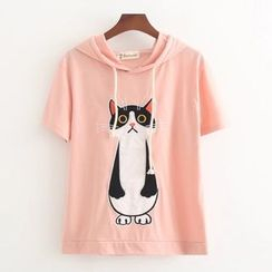 Nycto - 猫咪印花连帽短袖T恤