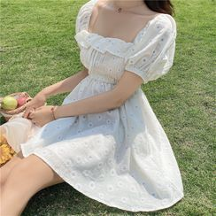 Vanci - Flower Embroidered Short-Sleeve Mini A-Line Dress