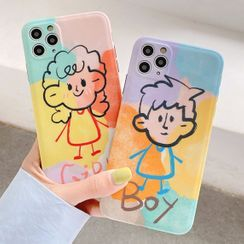 Mobby - Couple Matching Cartoon Print Phone Case - iPhone 11 Pro Max / 11 Pro / 11 / SE / XS Max / XS / XR / X / SE 2 / 8 / 8 Plus / 7 / 7 Plus