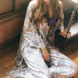 Ecarlate - Pajama Set: Spaghetti Strap Top + Kimono Jacket + Pants