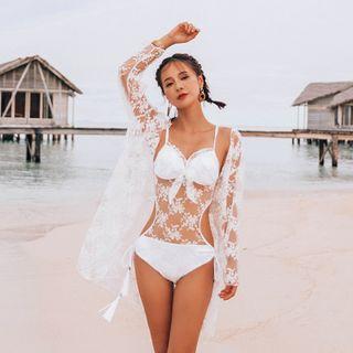 Salanghae - 网纱拼接泳装/蕾丝罩衫