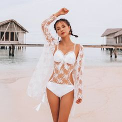 Salanghae - Mesh Panel Swimsuit / Lace Cover-Up
