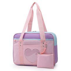 LIONA - Heart Colour Block Travel Carryall Bag