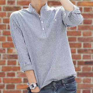 Wewewow - Long-Sleeve Striped Shirt