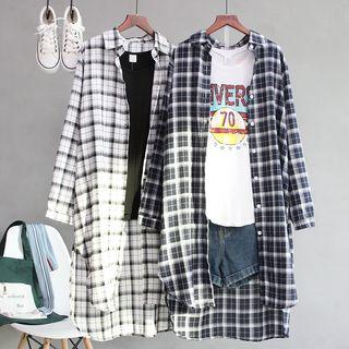 JOEJOE - Plaid Long Shirt