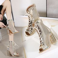 Niuna - Lace Up Open Toe High-Heel Ankle Boots