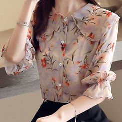 Aesthit - Bell-Sleeve Floral Blouse