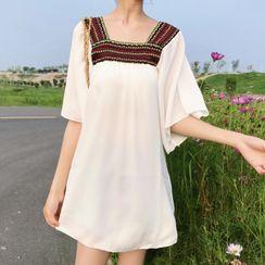 Astarte(アスタルテ) - Elbow-Sleeve Chiffon Tunic Dress