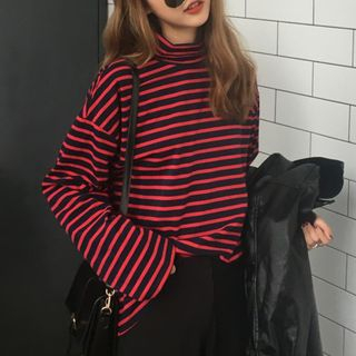Cloud Nine - Striped Turtleneck T-Shirt
