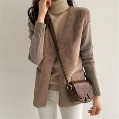 PIPPIN - Faux-Fur Panel Wool Blend Cardigan