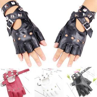 Planezza - Studded Faux Leather Fingerless Gloves
