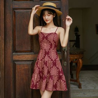 Morning Glory - Spaghetti Strap Patterned Sundress