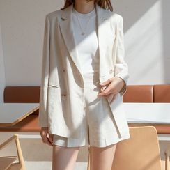 NAIN - Double-Breasted Linen Blend Blazer