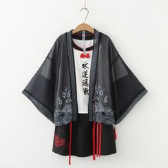 Mori Girls - 印花日式外套 / 字母短袖上衣 / A字迷你裙