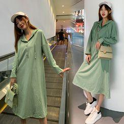Fatimonal - Long-Sleeve Hooded Midi T-Shirt Dress
