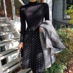 Cherryville - Drawstring-Waist Frill-Trim Dotted Knit Dress