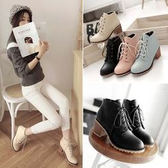 Megan - Chunky Heel Lace Up Ankle Boots