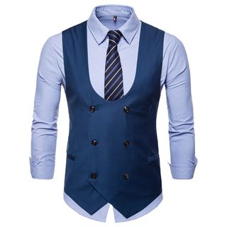 Peibo - Plain Double-Breasted Vest