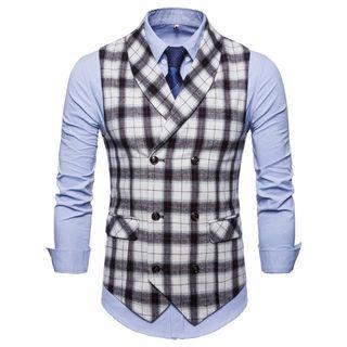 Peibo - Plaid Double-Breasted Vest