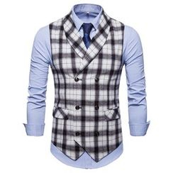 Peibo - Plaid Double-Breasted Vest