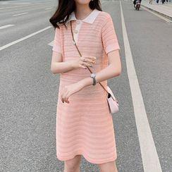 Sancus - Short-Sleeve Mini Knit Polo Dress