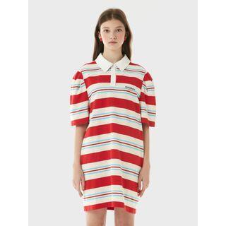 rolarola - Puff-Sleeve Stripe Polo Shirtdress