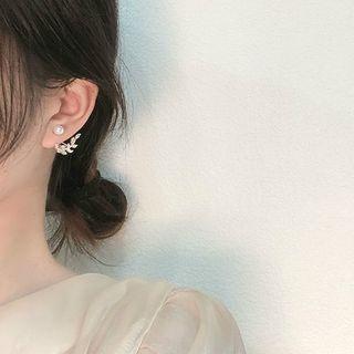 Henya - Rhinestone Leaf & Faux Pearl Stud Earring