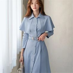 CHICLINE - Capelet Coatdress with Belt