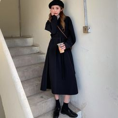 HL哈嘍妹妹 - 腰結帶長袖A字連衣中裙