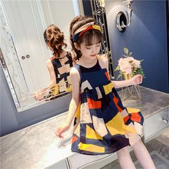 Qin Qin - Kids Patterned Geometric Print A-Line Dress