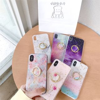 Edgin - Marble Print Mobile Case with Ring Holder - iPhone XS Max / XS / XR / X / 8 / 8 Plus / 7 / 7 Plus / 6s / 6s Plus
