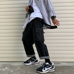 子俊 - 缝线宽腿工装背带牛仔裤