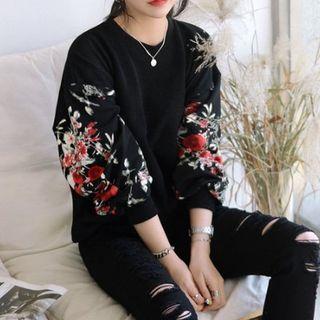 DEEPNY - Floral Print-Sleeve Sweatshirt