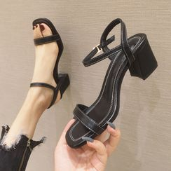 Shawnsher - Contrast Stitching Chunky Heel Sandals