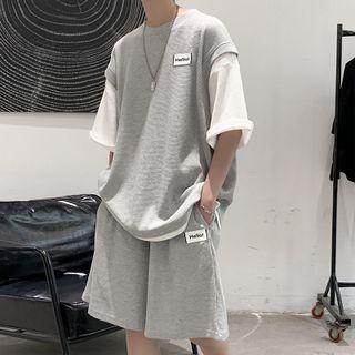 EOW(イーオーダブリュ) - Set: Mock Two-Piece Sweatshirt + Sweatshorts