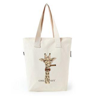 Lozynn - 長頸鹿印花帆布購物袋