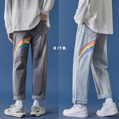 CooLook - 彩虹印花直筒牛仔裤