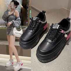 Wopes - Chain Lace-Up Platform Sneakers