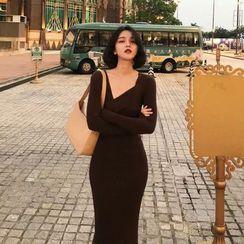 Shivani - Long-Sleeve Asymmetrical Knit Midi Sheath Dress