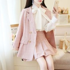 Petit Lace - Tie-Neck Chiffon Blouse + Plaid Blazer + Pleated Skirt / Plaid Blazer + Skirt / Chiffon Blouse / Set